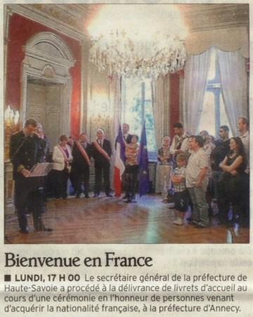 presse,dauphine,accueil,naturalisation,nationalite francaise,prefecture,haute-savoie