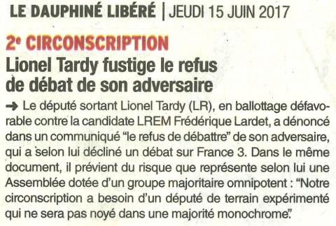 communique,tardy,les republicains,legislatives 2017,haute-savoie,france3,debat