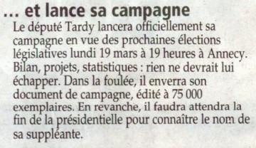 presse,essor,annecy,tardy,campagne,election,legislatives 2012,candidature,conference de presse