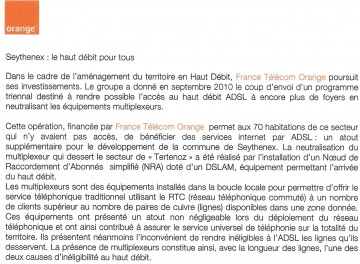 presse,dauphine,seythenex,adsl,haut debit,orange,internet,france telecom