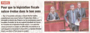 presse,dauphine,question,gouvernement,suisse,frontalier,communique de presse,fiscalite