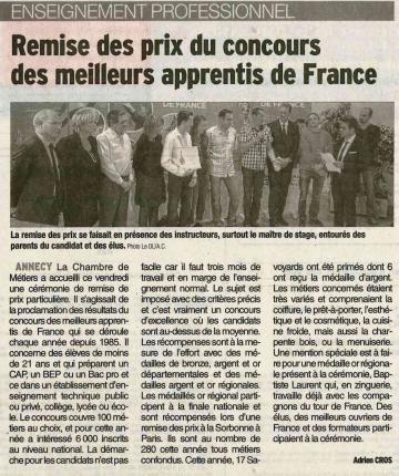 annecy,cci,medailles,diplomes,apprentis de france,haute-savoie