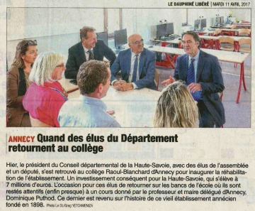 annecy,inauguration,college,raoul blanchard,haute-savoie