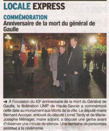 presse,dauphine,ump,commemoration,general de gaulle,monument aux morts,annecy