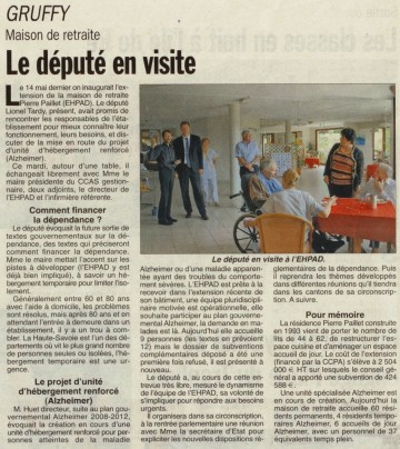 presse,dauphine,gruffy,visite,retraite,dependance,lionel tardy,ephad,personnes agees,ccas