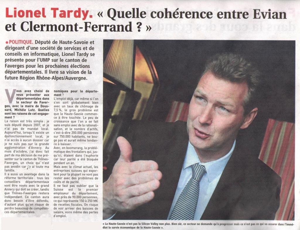 Interview de Lionel TARDY dans le magazine \ 03 - 13mars15 Journal entrepries LT 0 .jpg