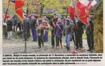 quintal,commemoration,ceremonie,11 novembre,haute savoie,armistice