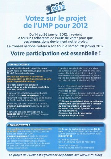 projet,ump,presidentielle 2012,cope