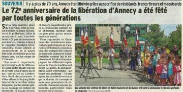 annecy,ceremonie,commemoration,72eme anniversaire,liberation d'annecy,haute-savoie