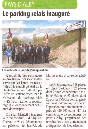 alby-sur-cheran,presse,dauphine,inauguration,parking relais,conseil general,communaute de communes