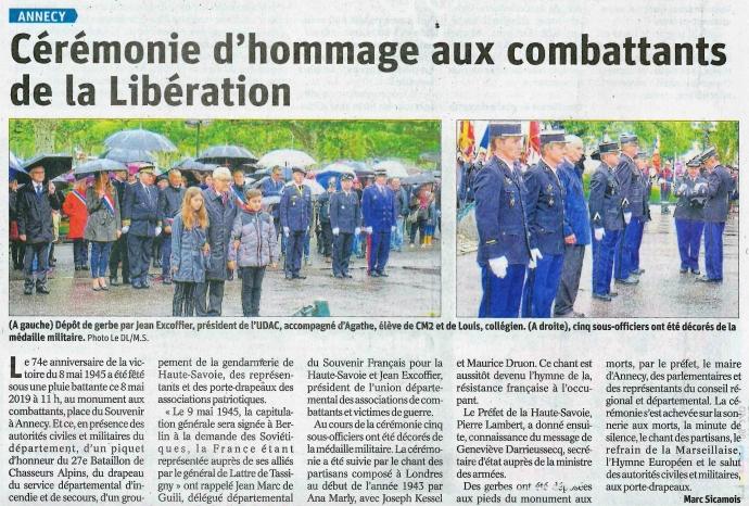 annecy,ceremonie,8 mai 1945,armistice,monument,27eme bcaguerre,resistant,tardy,dauphine libere