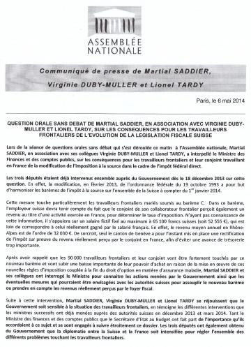 question,gouvernement,suisse,frontalier,communique de presse,fiscalite
