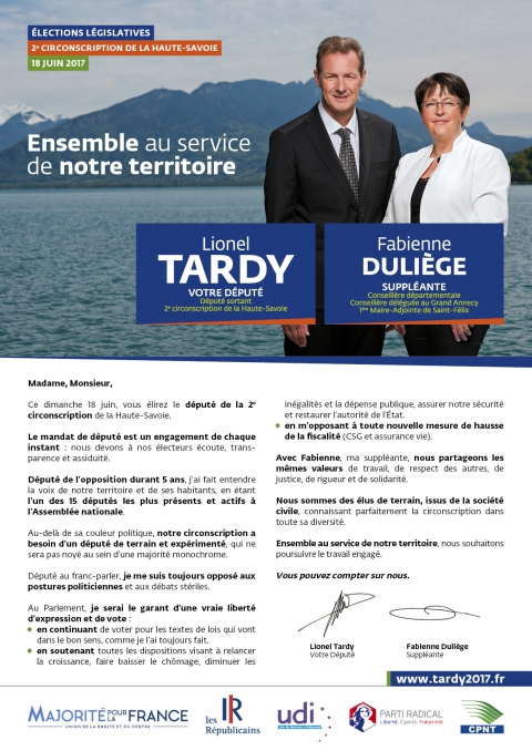 tardy,duliege,annecy,profession de foi,legislatives 2017