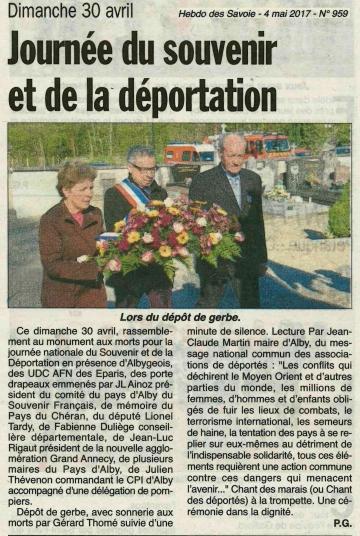 alby-sur-cheran,ceremonie,commemoration,journee nationale,souvenir,victimes,heros,deportation,haute-savoie