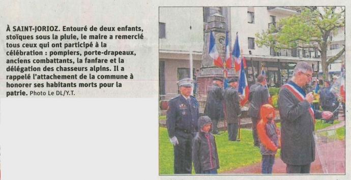 saint-jorioz,ceremonie,guerre,8 mai 1945,armisctice,resistant,tardy,dauphine libere