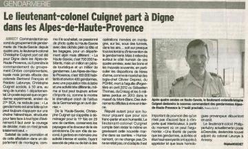 annecy,presse,dauphine,depart,lieutenant -colonel, Christophe Cuignet,gendarmerie