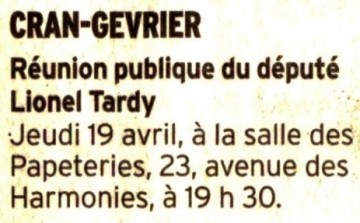presse,dauphine,elections legislatives,lionel tardy,reunion publique