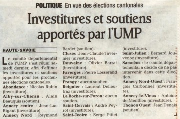 annecy,investiture,ump,elections cantonales,