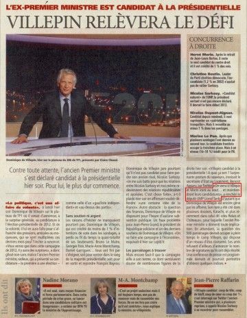 presse,villepin,politique,presidentielle,direct matin,paris,candidature,2012