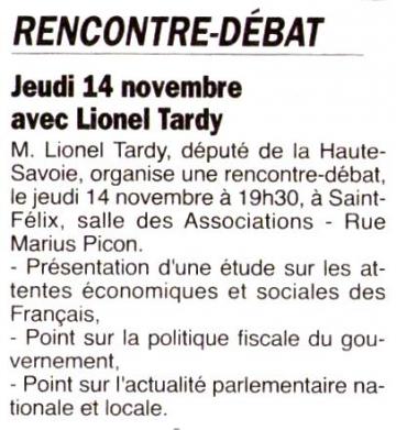 presse,dauphine,saint-felix,rencontre,debat,lionel tardy,militants,public,ump 74,2ème circonscription,ump