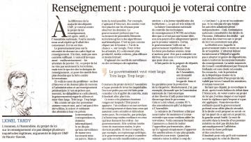 paris,presse,le figaro,pl renseignement,lionel tardy,vote