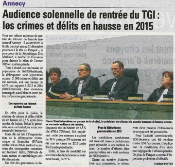 annecy,tribunal,audiencde solennelle,tgi,presse,dauphine