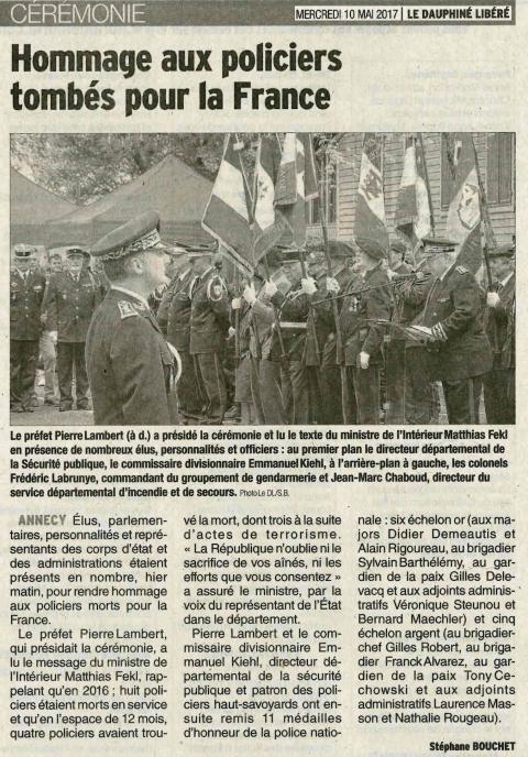 annecy,cérémonie,policiers,morts pour la france,hommage aux morts