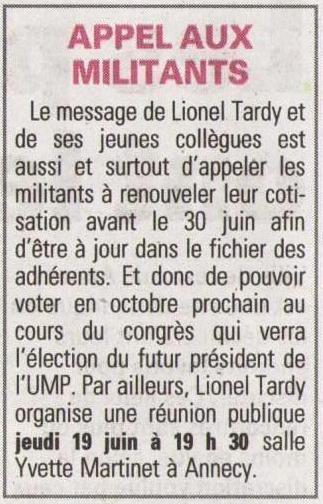 presse,dauphine,annecy,rencontre debat,lionel tardy,ump 74,militants,public,2ème circonscription
