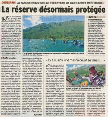 doussard,inauguration,perimetre,protection,reserve naturelle,bout du lac