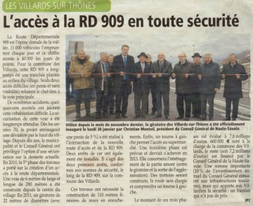 presse,dauphine,villards-sur-thones,inauguration,route,voiture,rond point,conseil general