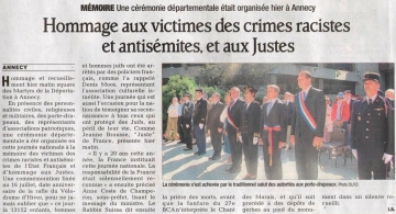 presse,dauphine,annecy,commemoration,hommage,justes,racisme,antisemitisme