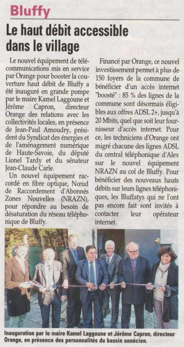 bluffy,france telecom,orange,internet,haut debit,inauguration,nra