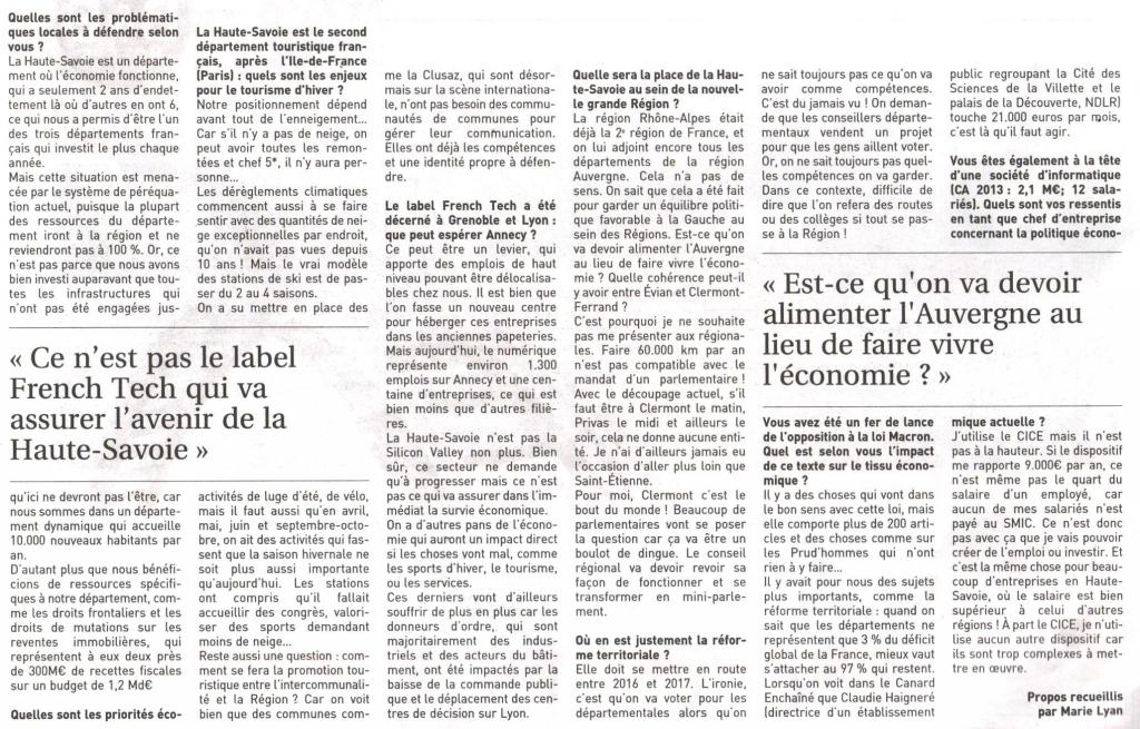Interview de Lionel TARDY dans le magazine \ 03 - 13mars15 Journal entrepries LT 1 .jpg