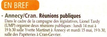 reunion publique,lionel tardy,legislatives 2012
