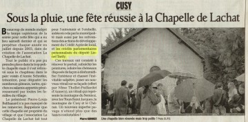 presse,dauphine,cusy,chapelle de lachat,association,fete,subvention,patrimoine,renovation,lionel tardy