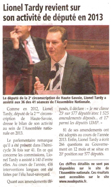 bilan,lionel tardy,activite,classement,amendement,commission,hemicycle,assemblee nationale,qe,qag,loi