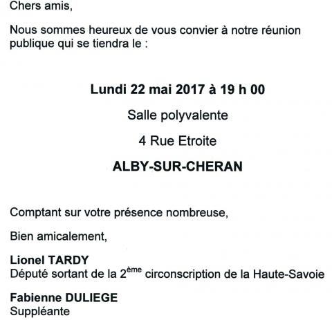 alby-sur-cheran,reunion publique,legislatives 2017,tardy,duliege,les republicains,haute-savoie