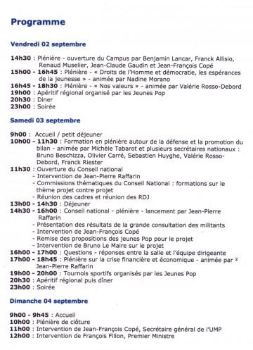 marseille,ump,campus 2011,programme