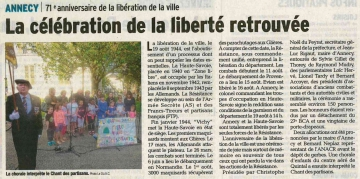 presse,dauphine,annecy,71eme anniversaire,liberation