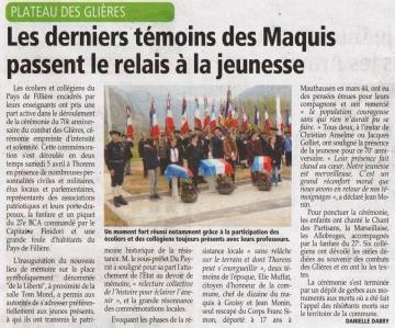 presse,dauphine,glieres,anniversaire,70 ans,ministre de la defense,jean-yves le drian,commemoration,ancien combattant