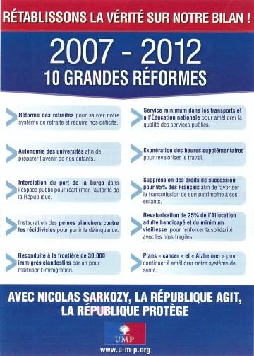 bilan,reforme,ump,presidentielle 2012
