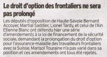 presse,dauphine,frontaliers,droit d'option,amendement