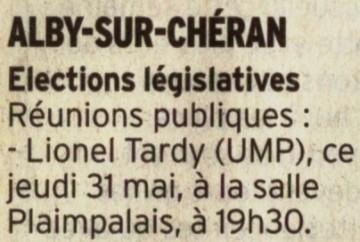 alby sur cheran,elections législatives 2012,lionel tardy,reunions publiques