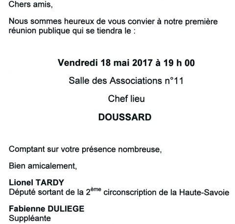 doussard,reunion publique,legislatives 2017,2eme circonscription,tardy,duliege,les republicains,haute-savoie